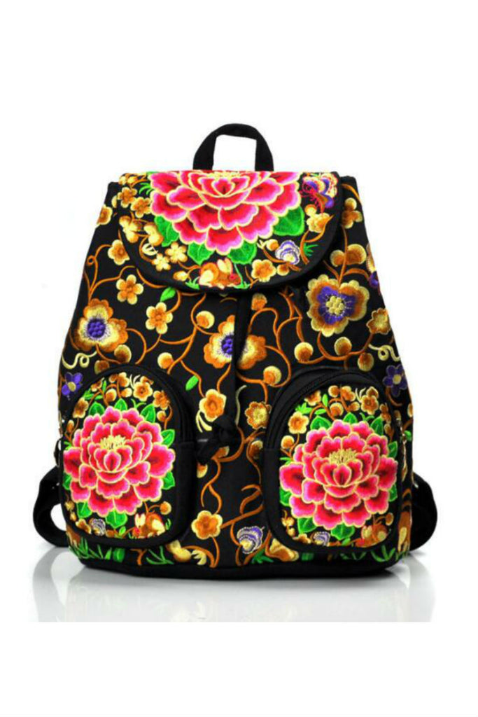 Gold Red Flower Embroidery Backpack