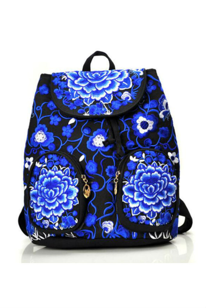 Blue Black Flower Embroidery Backpack