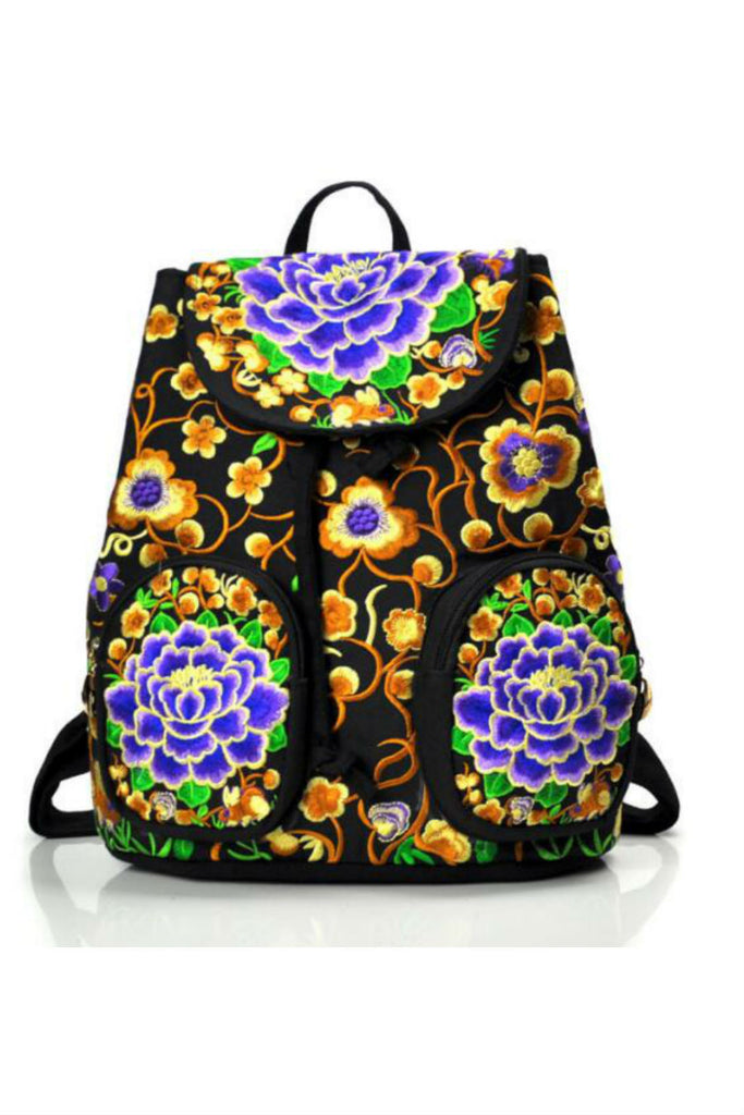 Gold Blue Flower Embroidery Backpack