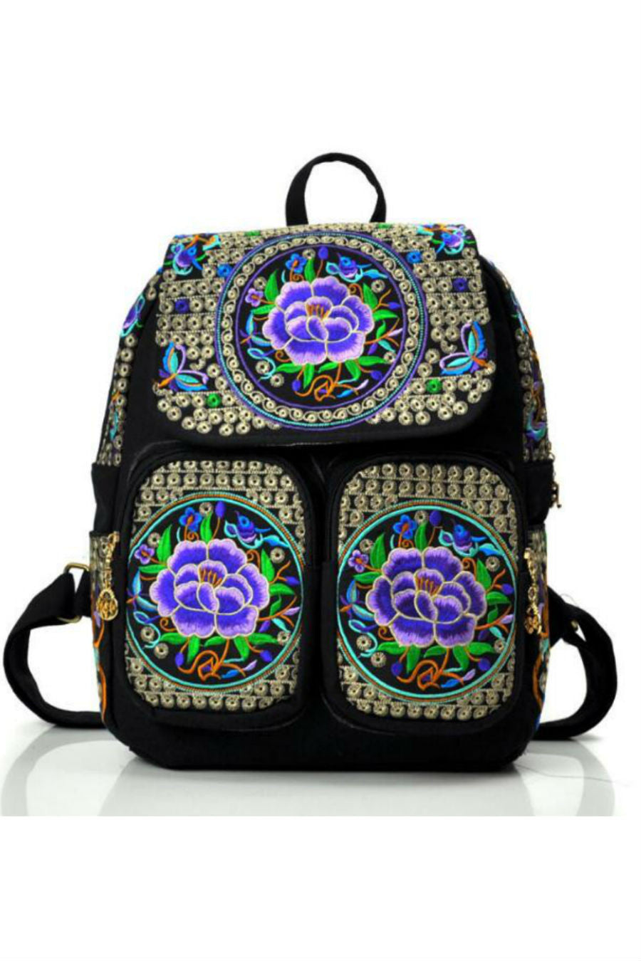 Ethnic Purple Boho Backpack