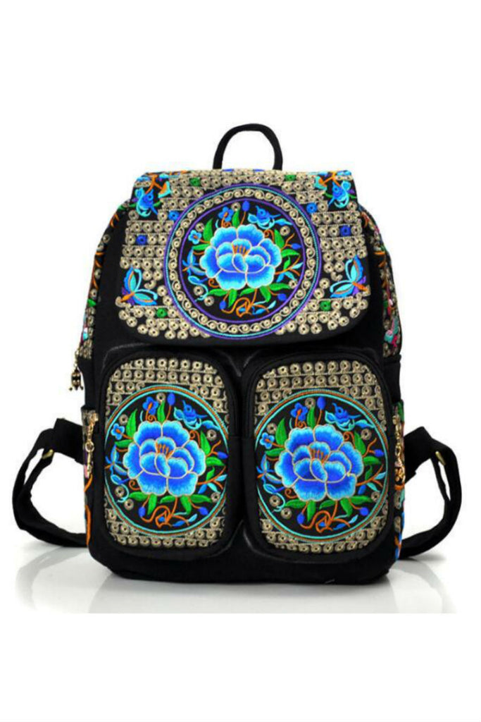 Boho Flower Embroidery Backpack