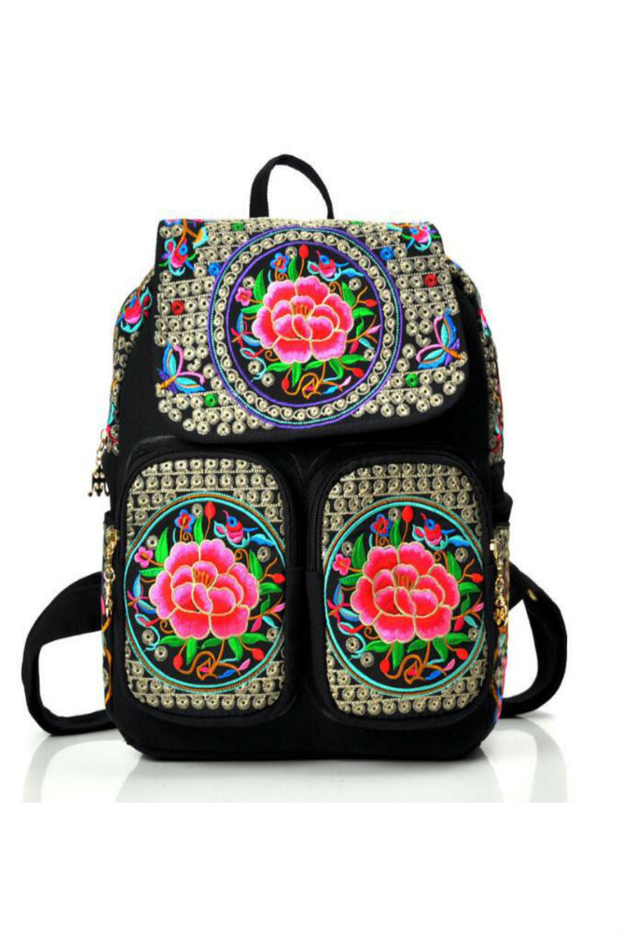 Ethnic Flower Embroidery Backpack