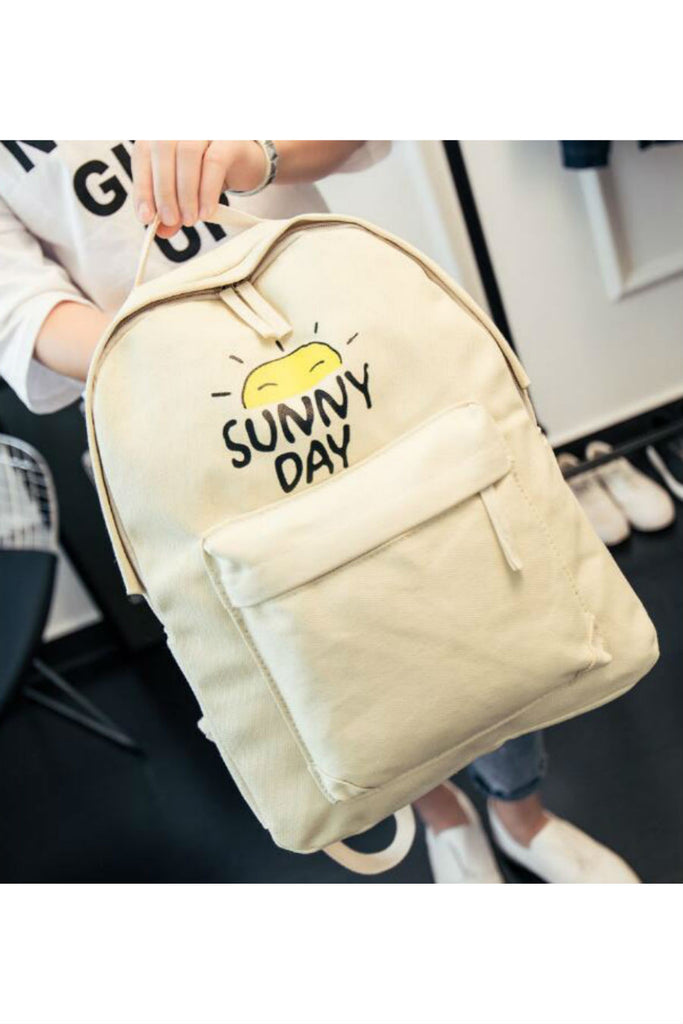Sunny Day Cream Canvas Backpack