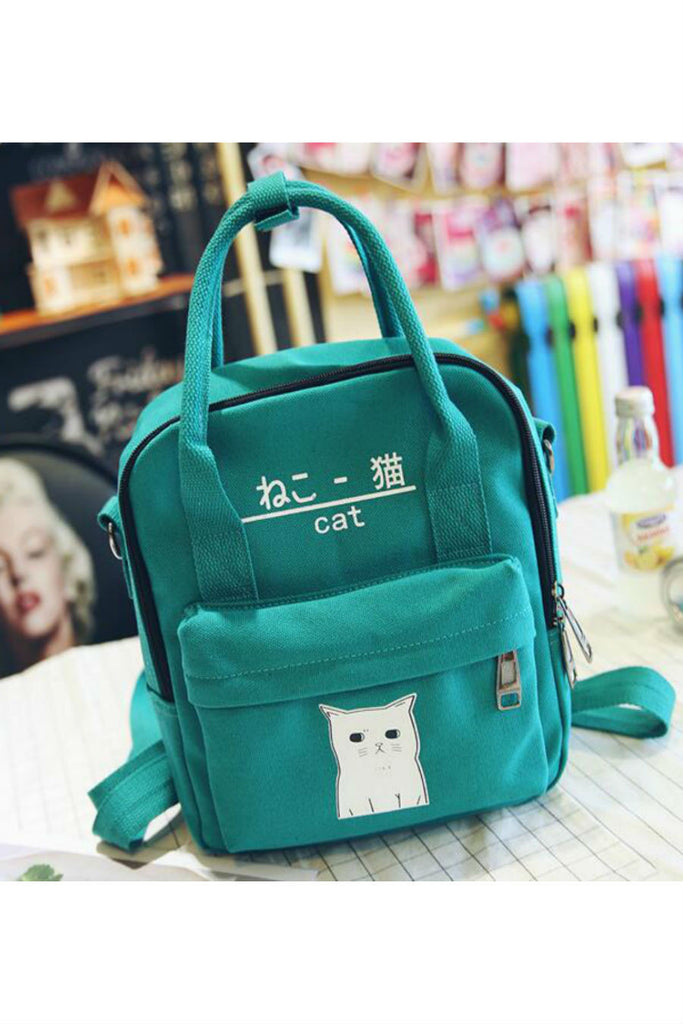 J-fashion Cat Print Canvas Backpack
