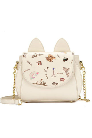 Cat Ear Print Shoulder Bag