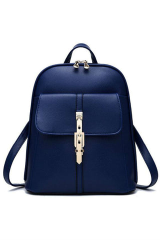 Classic Navy Leather Travel Bag Backpack