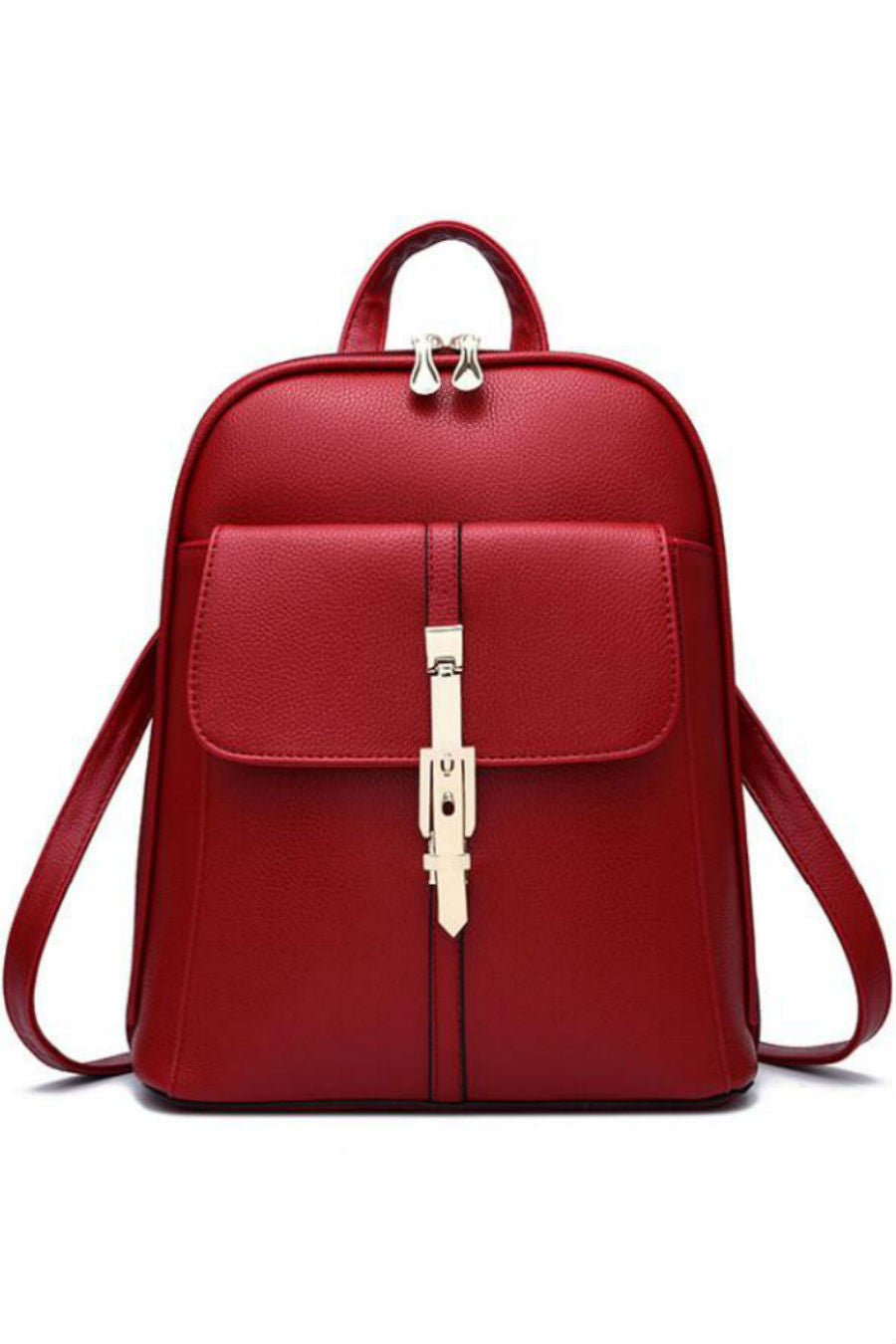 Classic Red Leather Backpack