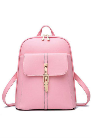 Classic Pink Leather Travel Bag Backpack