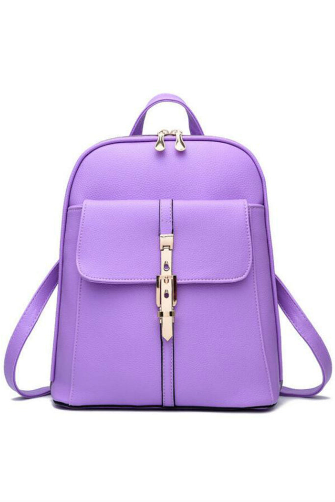 Classic Lilac Leather Travel Bag Backpack