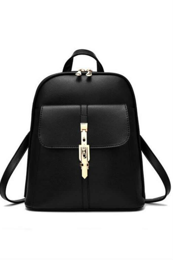 Classic Black Leather Travel Bag Backpack