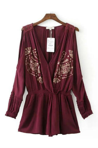 Burgundy Cold-Shoulder Romper