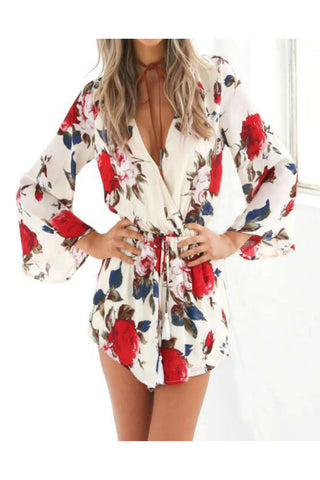 Fashion Floral Long-sleeve Romper
