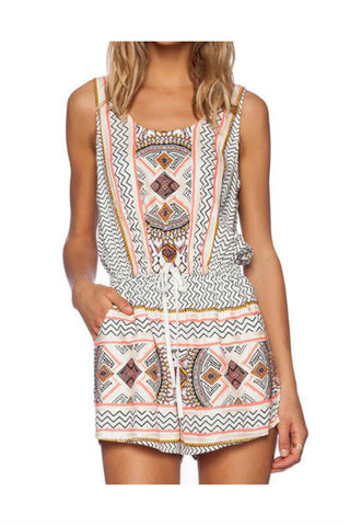 Digital Printed Sleeveless Romper