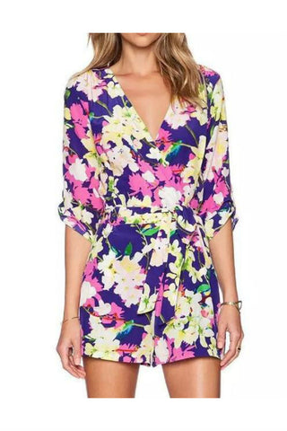 Floral Ties Long Sleeve Romper