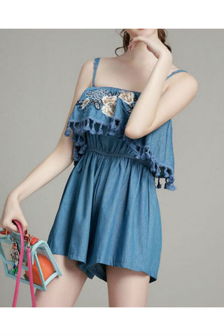 Floral Embroidery Denim Romper
