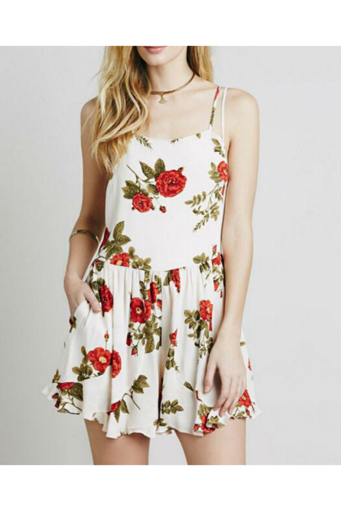 Floral Strapped Backless Romper
