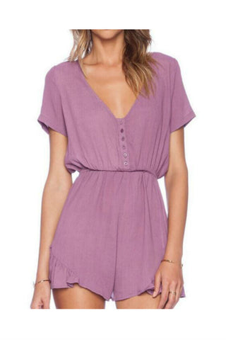 Purple V-Neck Romper