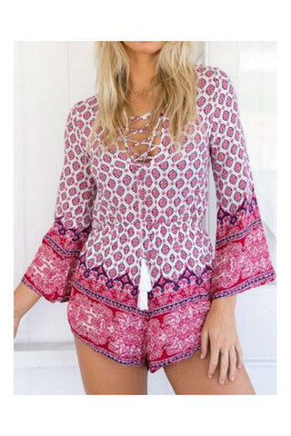 Lace Up Pink Ethnic Printed Romper