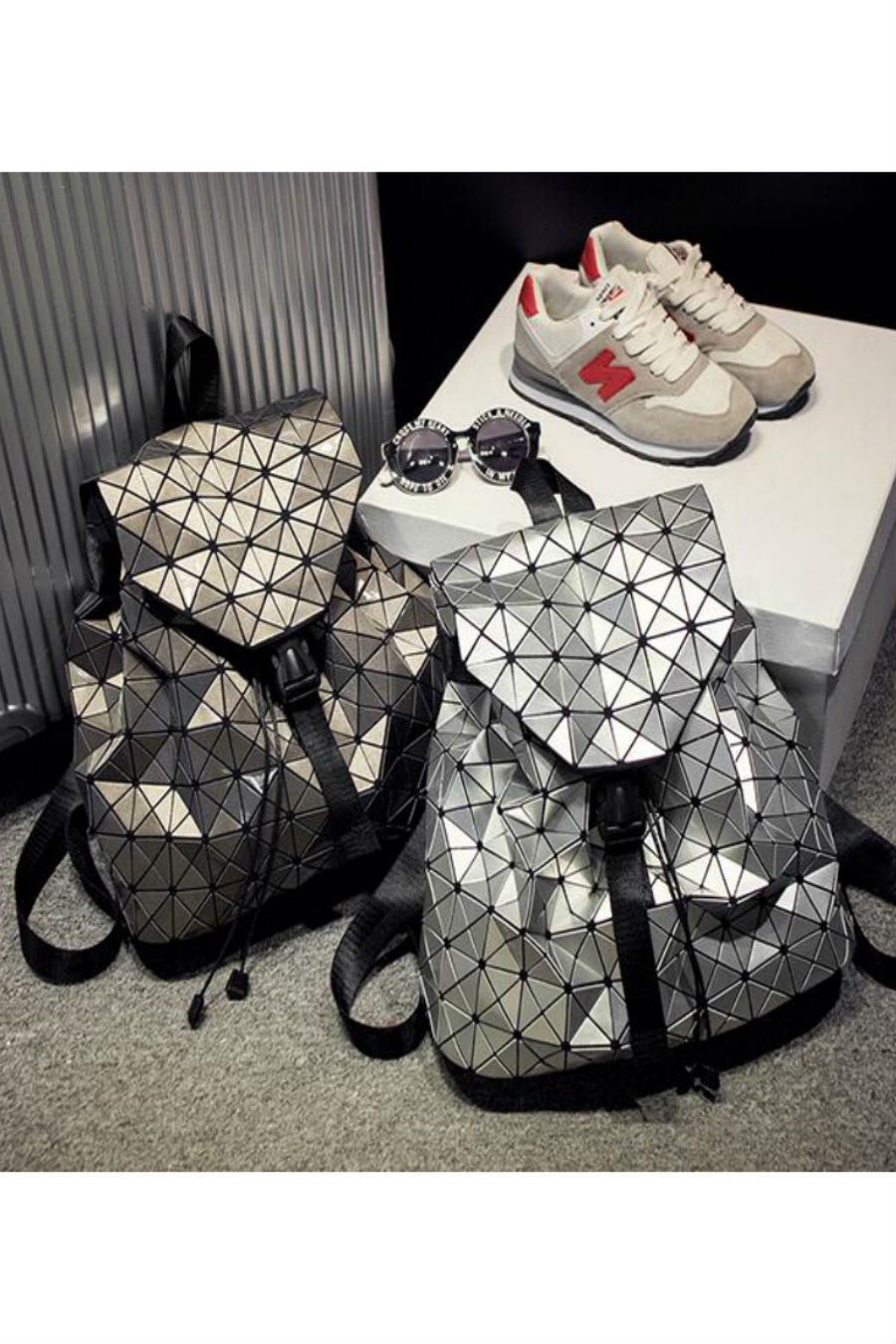 Silver Patent Leather Backpack