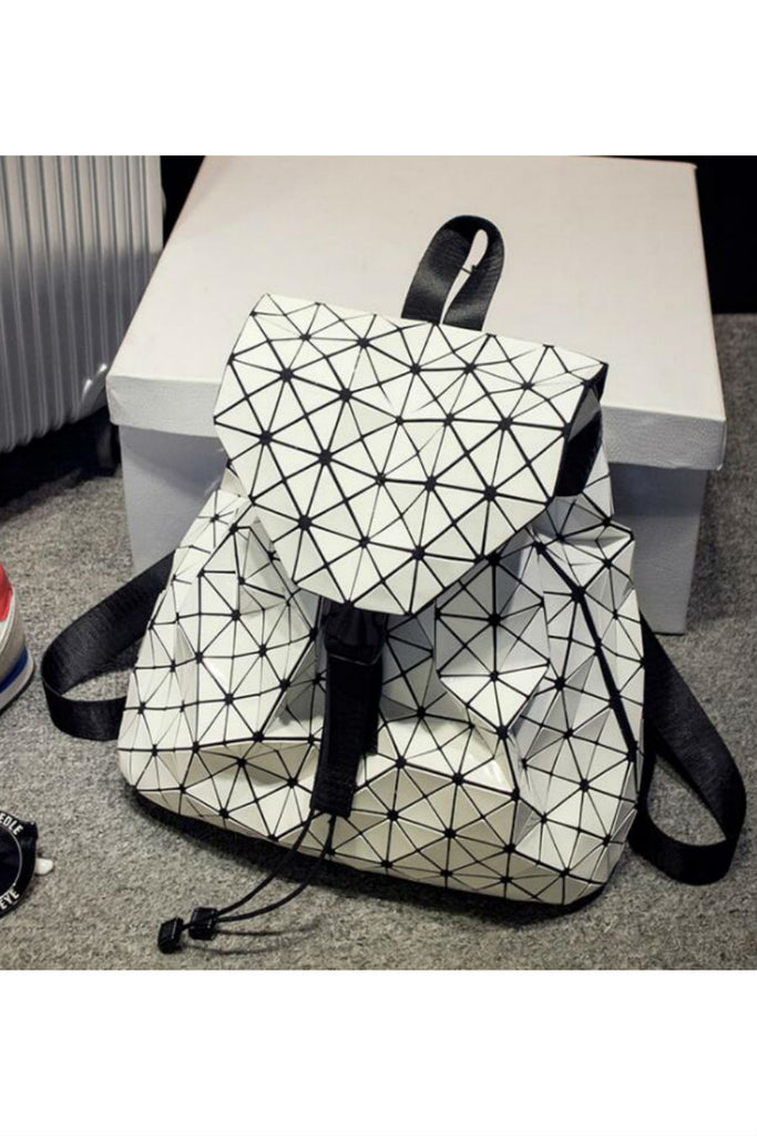 Black White Patent Leather Backpack
