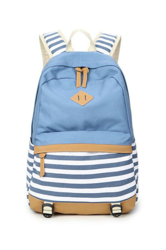Blue Striped College Canvas Backpack