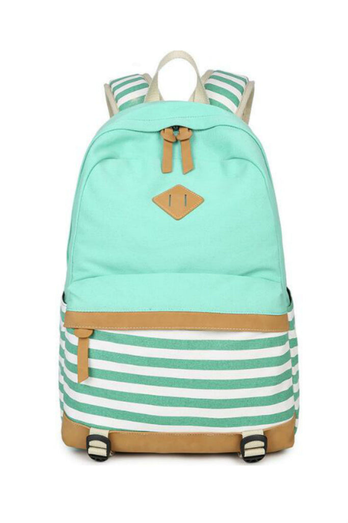 Mint Striped Canvas Backpack