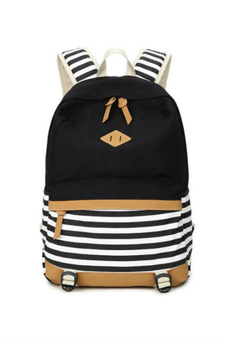 Black Striped Canvas Backpack