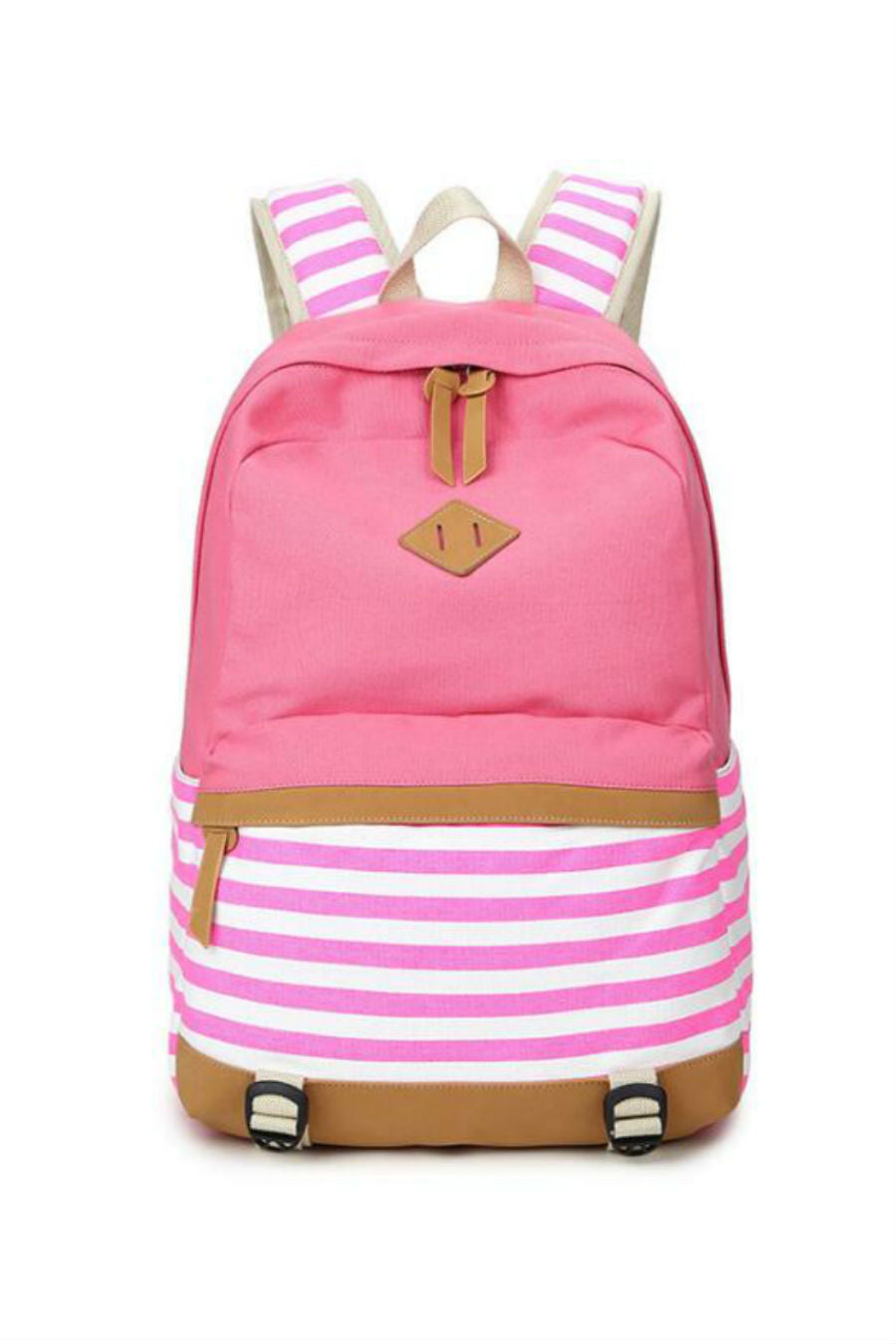 Pink Striped Canvas Backpack