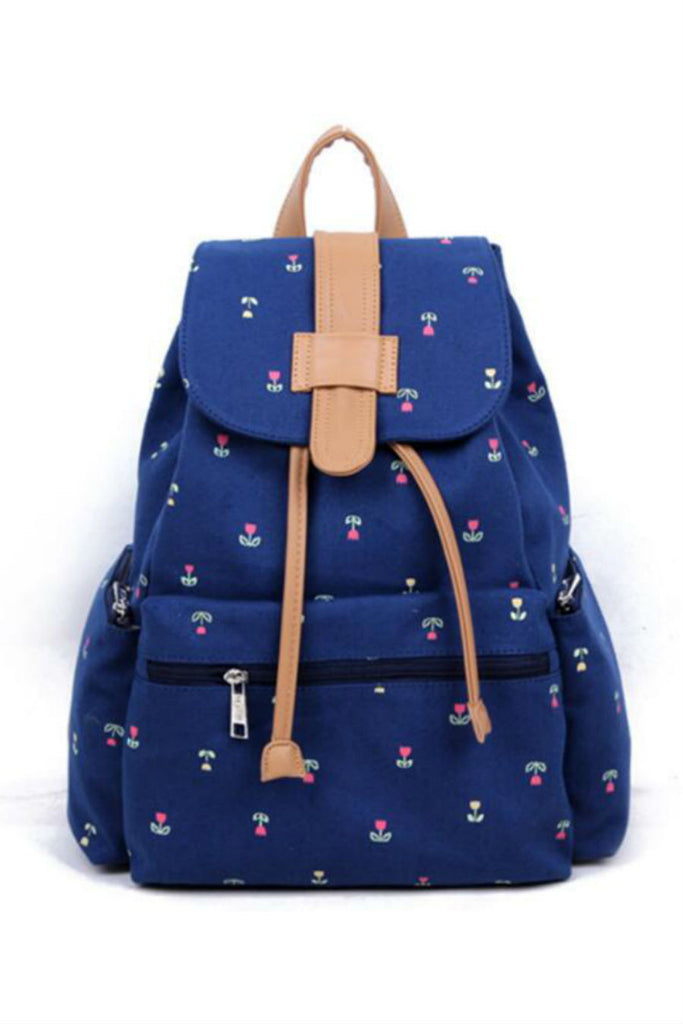 Navy Blue Floral Travel Canvas Backpack