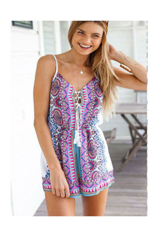 Digital Printed Boho Strapped Romper