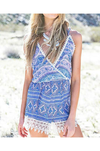 Blue Printed Lace Splicing Romper