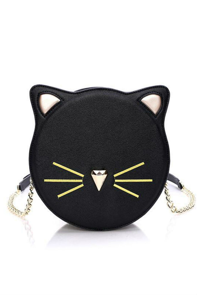 Kawaii Black Cat Round Crossbody Bag