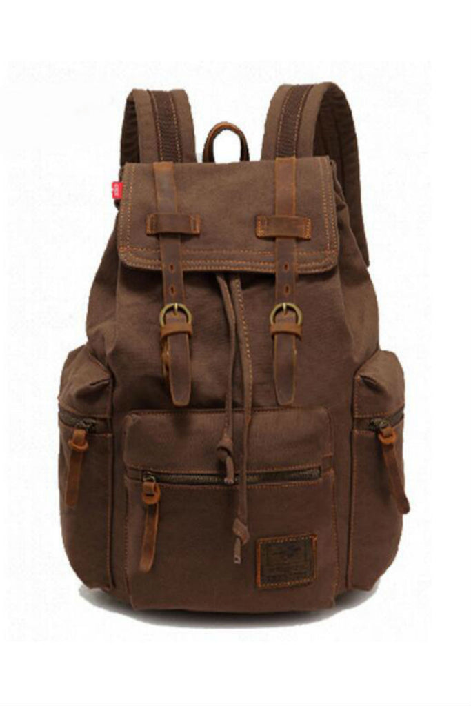 Vintage Brown Hiking Travel Military Backpack