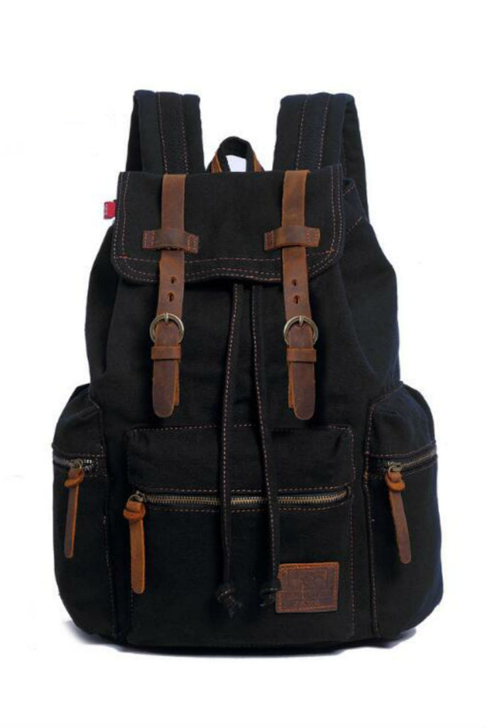 Vintage Black Hiking Travel Military Backpack