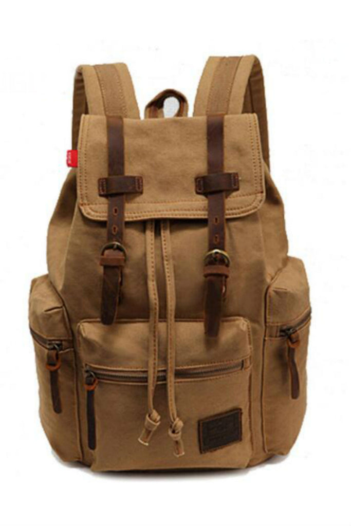 Vintage Tan Hiking Travel Military Backpack