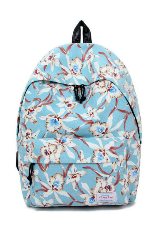 Retro Floral Travel Backpack In Blue
