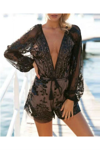 Deep V-neck Sequins Romper