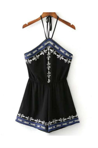 Boho Black Floral Embroideried Halter  Romper