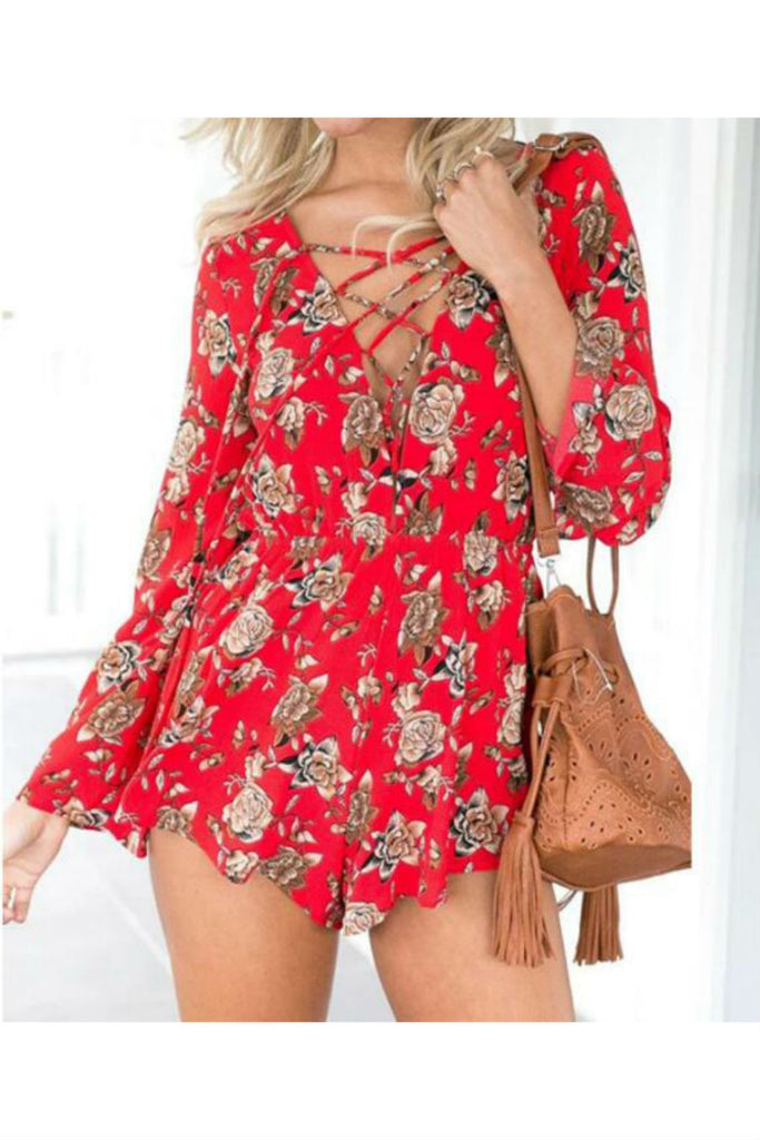 Vintage Red Flowers Lace Up Romper
