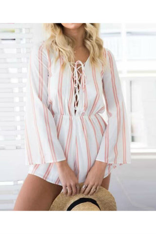 Pink Striped Long Sleeve Romper