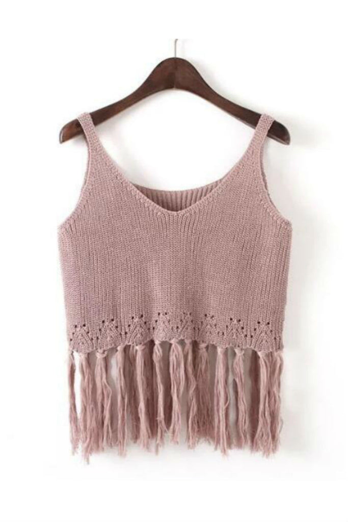 Summer Fashion Knitted Tassel Cami Top