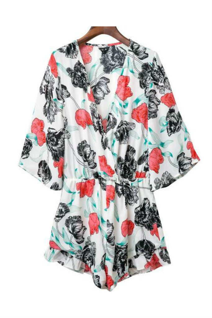 Boho Flower Long Sleeve Romper