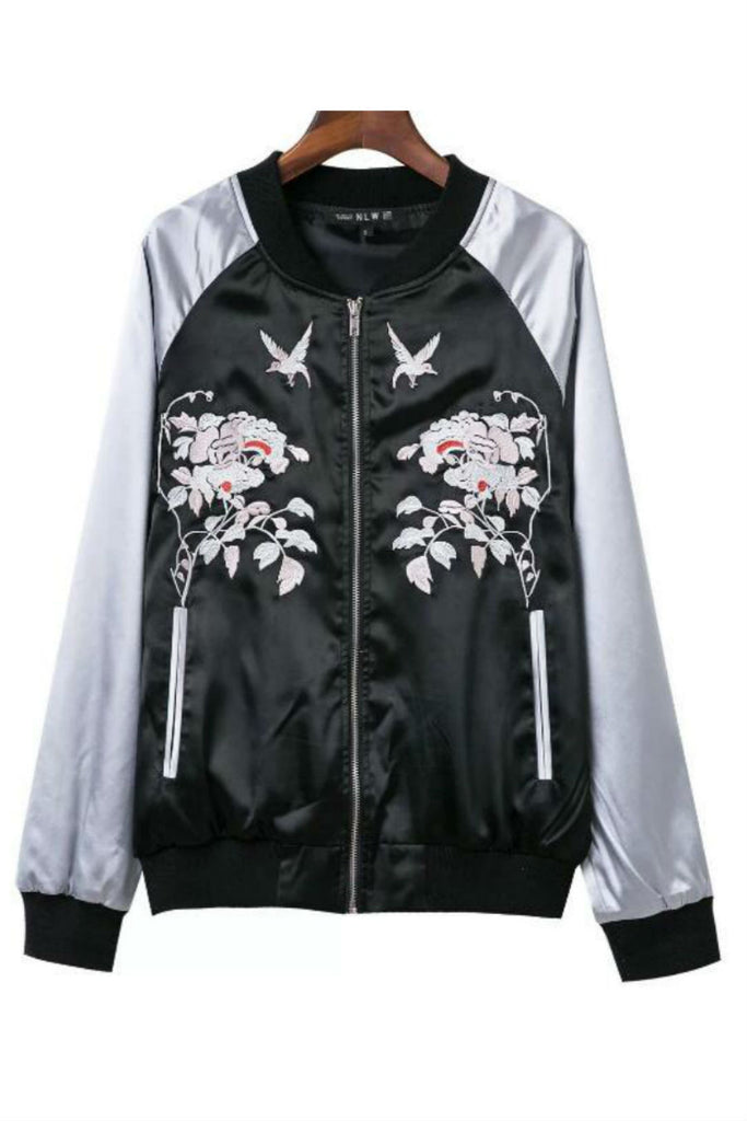 Bird Flower Embroidery Bomber Jacket