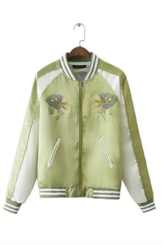 Mint Dragon Embroidery Bomber Jacket