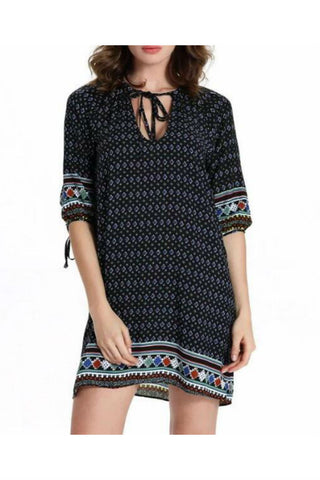 Ethnic Boho Printed Quarter Sleeve Dress