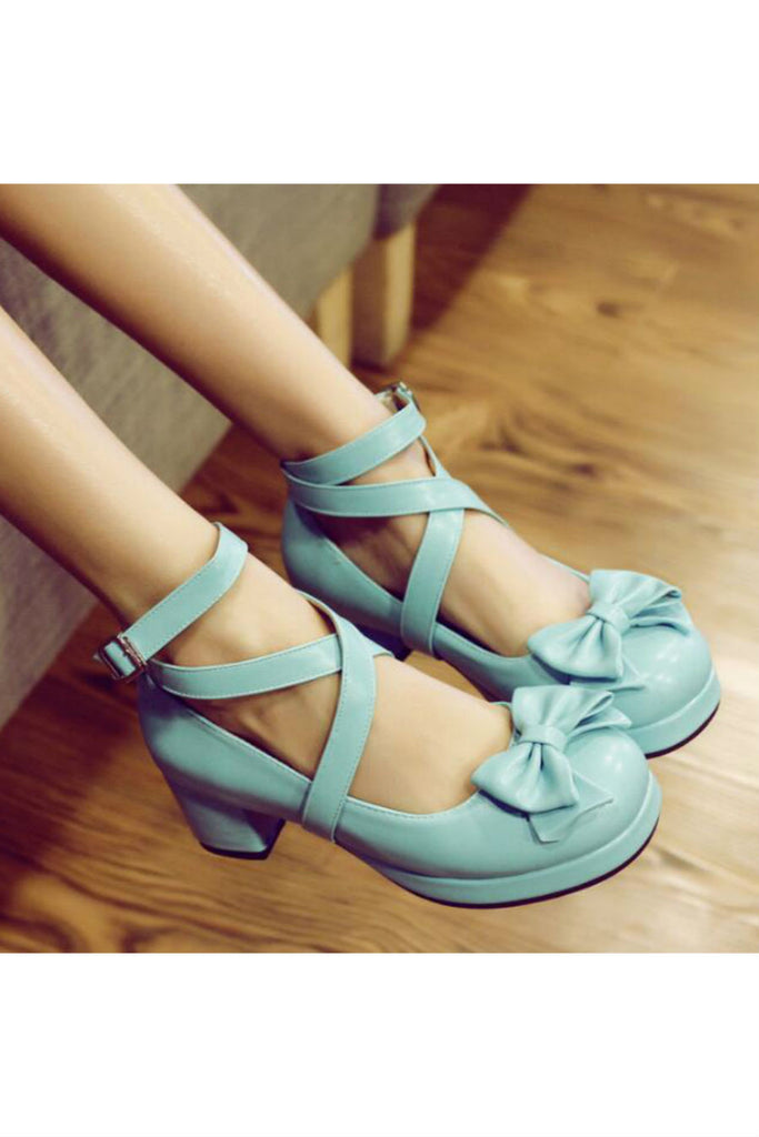 Lovely Lolita Bow Heeled Shoes In Blue