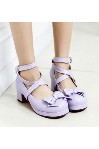 Lolita Bow Purple Heels