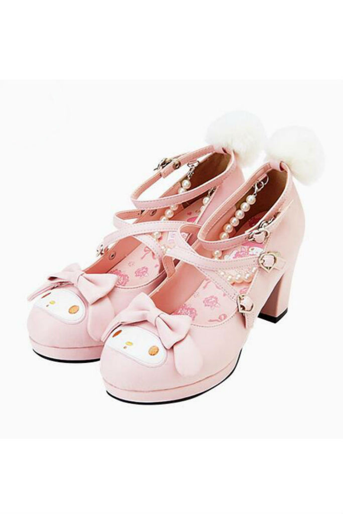 Lolita Pink Rabbit Bow Heeled Shoes