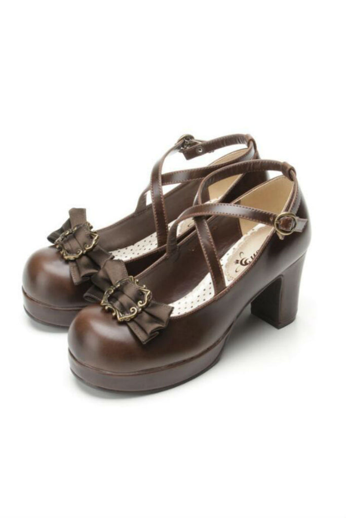 Sweet Lolita College Block Heels In Brown