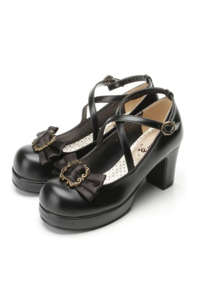 Sweet Lolita College Block Heels In Black